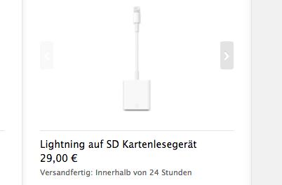 Lightning-Adapter für SD-Karten und USB Kamera bestellbar