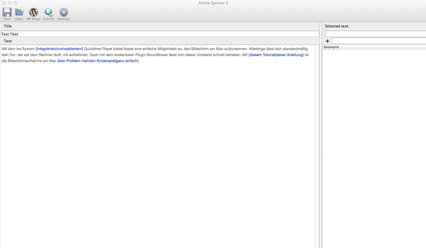 Article Spinner 2: Was kann der einzige Article Spinner für den Mac?