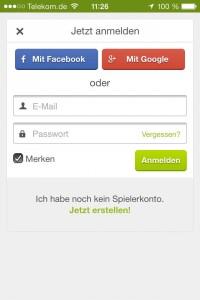 """Vor dem """"Check out"""": Mit Facebook oder Google+ Anmelden oder ein Spielerkonto erstellen."""