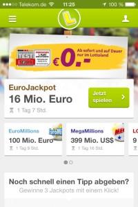 Startseite der Lottoland App